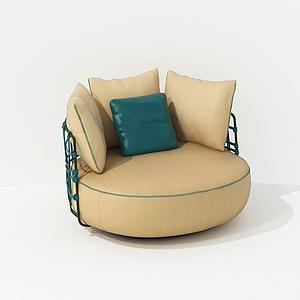 現代圓形單人休閑沙發模型