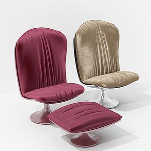 現代簡約休閑椅椅凳組合模型