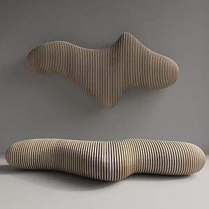 現代木凳墻飾模型