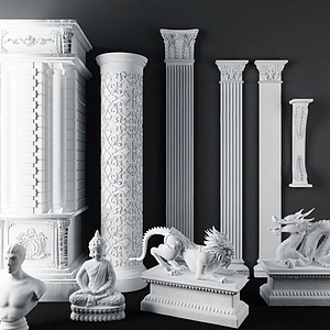 歐式石膏雕花羅馬柱模型