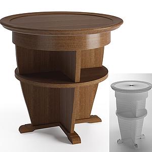 現代實木儲物小圓桌模型