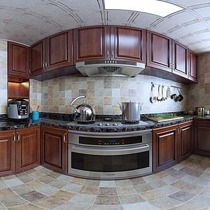 新中式風格廚房全景模型