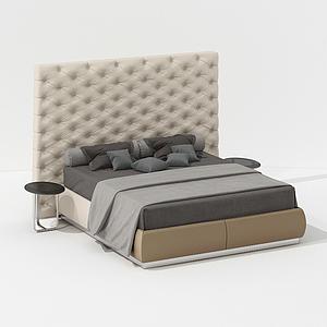 后現代簡約雙人床模型