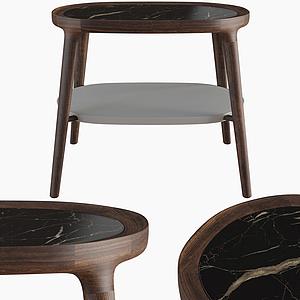 現代休閑橢圓木凳子模型