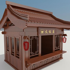 3d<font class='myIsRed'>木屋</font>販賣亭模型