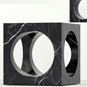 現代大理石邊柜鏤空邊柜模型