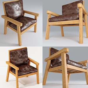 現代戶外實木椅模型