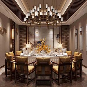 新,中式,風格,餐廳模型