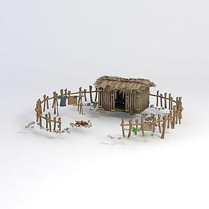 茅草院子模型