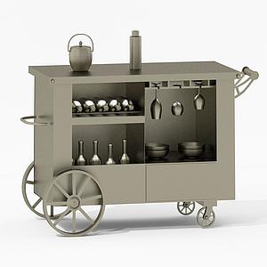現代餐具移動餐車模型