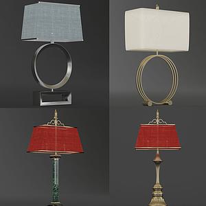 現代復古小臺燈組合模型