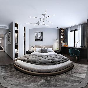 現代簡約風格主臥室全景模型