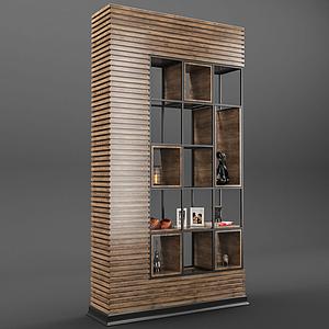 現代木質客廳展示柜模型