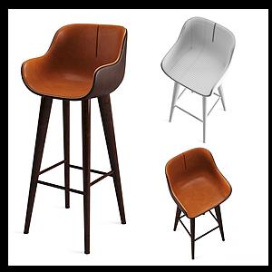 現代酒吧椅休閑高腳椅模型