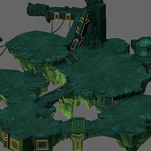3d游戏场景地形模型