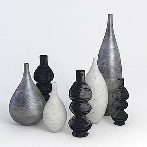 金屬色花瓶陳設品模型