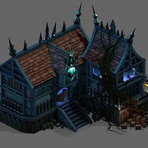 3d游戏场景酒馆模型