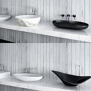 現代洗手臺盆模型