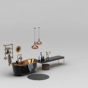 奢華浴缸沐浴小件組合模型