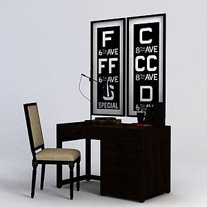 美式簡約書桌椅模型