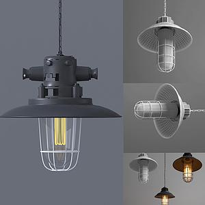 美式復古灰黑吊燈模型