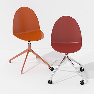 現代簡約帶輪椅辦公椅模型