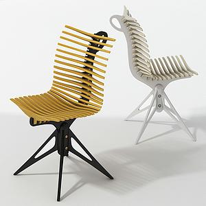 現代魚骨休閑椅辦公椅模型