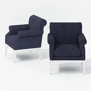 簡歐休閑單椅模型