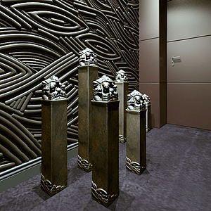 古典中式盤龍柱模型