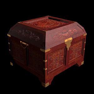 木雕方盒模型