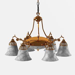 后現代簡約多頭吊燈模型