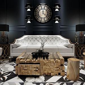 休闲沙发单椅茶几组合模型