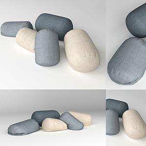 現代裝飾擺件會白圓柱抱枕模型