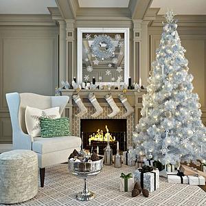 圣誕樹壁爐組合模型