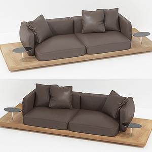 現代休閑雙人沙發棉布沙發模型