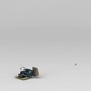 3d半圓形沙發玫瑰金茶幾組合模型
