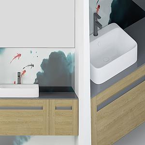 現代水墨式洗手臺模型