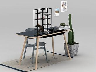 北歐書桌座椅模型