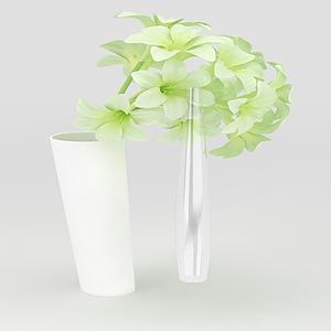 假花花瓶裝飾模型