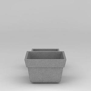 水泥花盆模型