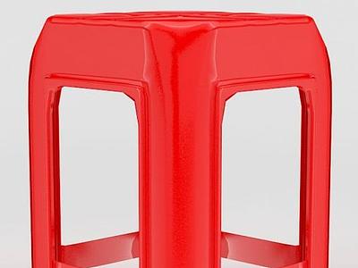 3d紅色塑料凳子模型