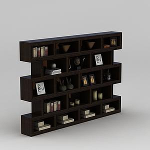中式書房置物架模型
