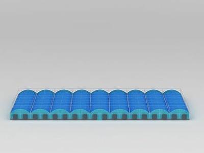 3d圓拱連棟溫室免費模型