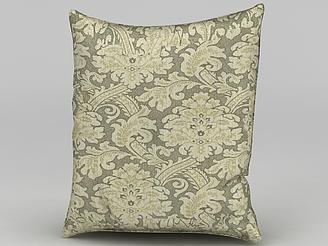 中式風格印花抱枕模型