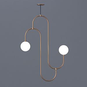 后現代設計感彎型吊燈模型