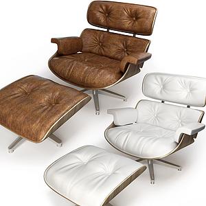 现代休闲躺椅椅凳模型