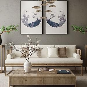 家具饰品组合中式沙发模型