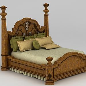 美式双人床模型