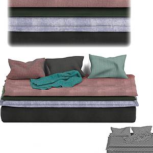 现代休闲长沙发凳模型