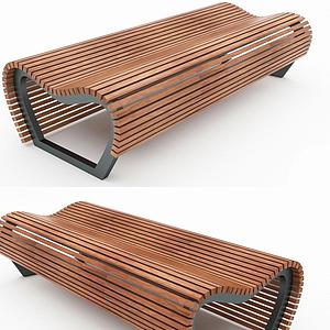 現代室內條形長凳模型